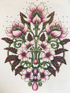 Bursts of Spring, Tidevarv, Hanna Karlzon Folk Art Flowers, Flowers Nature, Flower Art, Adult Coloring, Coloring Books, Coloring Pages, Hanna Karlzon, Polychromos, Colouring Techniques