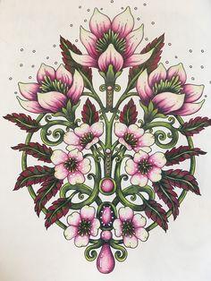Bursts of Spring, Tidevarv, Hanna Karlzon Folk Art Flowers, Flowers Nature, Flower Art, Adult Coloring, Coloring Books, Coloring Pages, Hanna Karlzon, Colouring Techniques, Polychromos