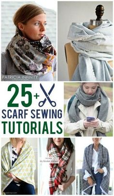 Sewing Clothes More than 25 Free Scarf Sewing Patterns and Tutorials - More than 25 free scarf sewing tutorials. Learn how to make an infinity scarf or how to make a blanket scarf. Many of them are no-sew, simple and easy. Easy Sewing Projects, Sewing Projects For Beginners, Sewing Tutorials, Sewing Hacks, Sewing Tips, Sewing Ideas, Diy Projects, Sewing Scarves, Sewing Clothes