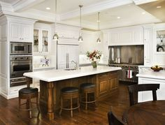 "Traditional Kitchen with U-shaped, Complex Marble, Kitchen island, Benson Pendant Collection (7""/13""/16""), Custom hood"