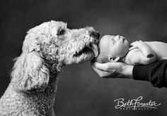 Newborn BW image with Pet Dog • NB with Kissing Dog