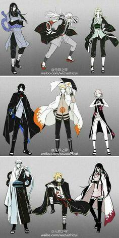 Team Sarutobi, Orochimaru, Jiraiya, Tsunade, Legendary Sannin, Team 7, Naruto, Sakura, Sasuke, Team Konohamaru, Mitsuki, Boruto, Sarada; Naruto