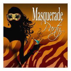 Sassy Bombshell Zebra Masquerade Cocktail Party Invites