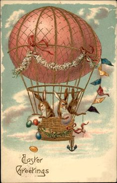 Rabbits Throw Eggs from Easter Egg Hot Air Balloon ~ vintage postcard Easter Art, Hoppy Easter, Easter Crafts, Umbrella Cards, Easter Illustration, Easter Parade, Vintage Greeting Cards, Vintage Easter, Hot Air Balloon
