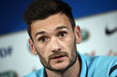 French goalkeeper and team captain Hugo Lloris gives a press conference on June 6, 2015 at the Stade-de-France stadium in Saint-Denis, outside Paris, on the eve of the friendly football match betweem France and Belgium.