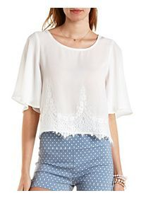 Lace-Trim Flutter Sleeve Top