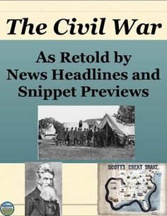 This Civil War review activity has students demonstrate knowledge of the Civil War's people and events by completing a news headlines and preview activity with written and visual components (instructions are very clearly detailed in the handout). Examples are included to get the students on the right track. This can be modified to be an individual or pairs activity. The rubric is included but the point values are blank to accommodate your own grading system.