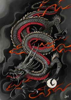 Japanese dragon tattoo in black, grey and red