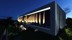 Iluminação valoriza a fachada principal da ÁGILI softwares em londrina, Pr , Brasil. Por Marilda Marchiori + Zeca Repette Arquitetura.      The project of.Illumination values the main façade of the ÁGILI software in londrina, Paraná, Brazil. By Marilda Marchiori + Zeca Repette Architecture
