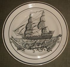A Cambrian pottery plate made in Swansea.