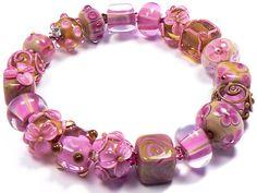 Pink beads - handmade lampwork glass beads by artist Kandice Seeber
