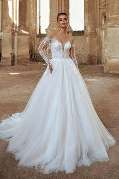 Long sleeve wedding dress Open shoulders dress Wedding dress | Etsy