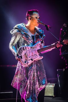 Luke Steele, with Guitar of Sacrifice words, Peru show, 2015 - Empire of the Sun