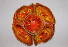 Items similar to Lava Glaze Chip Dip Set, Mid Century Ceramic Serving Dish, California Original Brown Orange Spicy Mustard Yellow Appetizer Party Platter on Etsy Glazes For Pottery, Pottery Art, Serving Dishes Set, Chip And Dip Sets, Glass Spice Jars, Gold Book, Chip Carving, Party Platters, Vintage Items