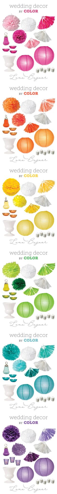"""We love @LunaMedia  """"shop by color"""" function! Check out this fab selection of products available in a rainbow of colors for your wedding day!"""