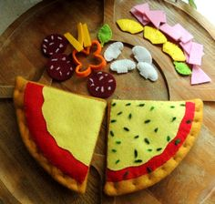 Felt Pizza Felt Food eco friendly childrens pretend by decocarin