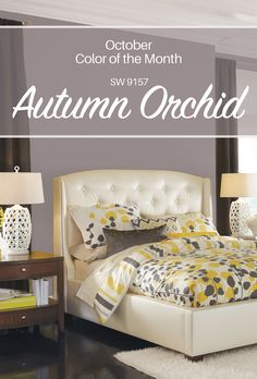 Subtle shades of autumn come alive in our October Color of the Month, Autumn Orchid SW Viewed here in a palette that includes yellows and creams as well as grays and dark browns, this rich hue shows off its beauty and versatility. Interior Paint Colors, Paint Colors For Home, Wall Colors, House Colors, Colours, Grey Purple Paint, Bedroom Colors, Bedroom Decor, Grey Furniture