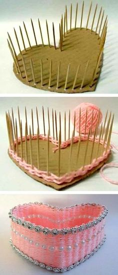 #9. DIY Heart-Shaped Basket | 25 Genius Craft Ideas                                                                                                                                                                                 More