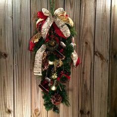 Rustic Christmas swag Christmas wreath holiday by MsRbachDesigns