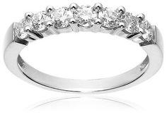 14k White Gold Round 7-Stone Diamond Ring (3/4 cttw, H-I Col