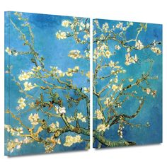 'Almond Blossom' by Vincent Van Gogh 2 Piece Painting Print Gallery-Wrapped on Canvas Set