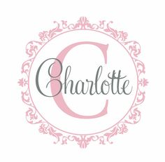 Shabby Chic Vinyl Wall Decal Personalized Initial and Name Wall Decal Damask Border Monogram Wall Decal Girl Baby Nursery Room 22Hx22W FS329 via Etsy