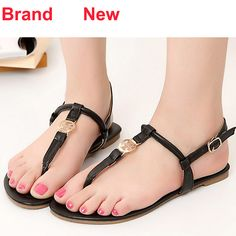 e879264f6d91 Aliexpress.com   Buy Brand Designer Famous 2014 New Hot Sale Size 5 6 Black  Silver Blue Sandals Women Cute Flat Flip Flops Soft Leather Summer Shoes  from ...