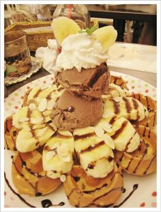 Banana waffle + Chocolate ice cream <3