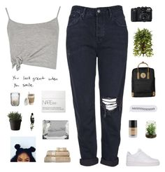 """""""Shut out, pimpled and angry."""" by smoothpeanutbutter ❤ liked on Polyvore featuring Topshop, NIKE, John Robshaw, Muuto, Boohoo, Aesop, McQ by Alexander McQueen, Fjällräven, NARS Cosmetics and Nearly Natural"""