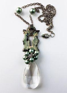 As Seen in Buffalo Magazine - Eco-friendly necklace and earrings, vintage escutcheon, mint pearls, chandelier crystal Always in Season. $67.16, via Etsy.