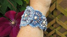 Bracelet Cuff - Pearl Statement Piece - OOAK Hand Beaded Recycled Denim with Vintage Faux Pearl Centerpiece Bracelet Cuff - Recycled Denim Textile Jewelry, Fabric Jewelry, Beaded Jewelry, Handmade Jewelry, Beaded Bracelet, Bracelets Design, Fabric Bracelets, Denim Armband, Bracelet Denim