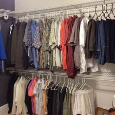 Take your closet to the next level with wire shelving—you'll have so much more space and you'll be organized!