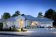 Willa Parkowa 6 on Behance Modern Bungalow Exterior, Classic House Exterior, Modern Bungalow House, Bungalow House Plans, House Plans Mansion, My House Plans, Village House Design, Bungalow House Design, American Style House