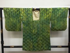 "SALE Michiyuki Kimono coat ""green shiny gradation and interlocking circles  ""…"