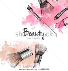 Makeup brush with smear, lipstick on white background. Watercolor, pencil drawn…
