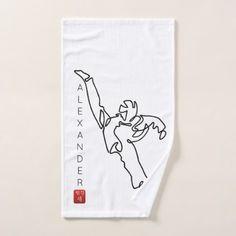 Towel with hand TAEKWONDO DWICHAGI back kick - home gifts ideas decor special unique custom individual customized individualized