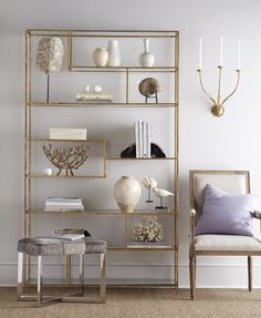 Our Elegant Étagère, inspired by design, features ample shelving space to fill. Hand-applied gold leaf finish and glass shelves add a sophisticated touch. Elegant Home Decor, Elegant Homes, Living Room Shelves, Living Room Decor, Shelving Design, Pub Table Sets, Counter Height Table, A Frame Cabin, Home Accessories