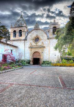 Carmel Mission Mission (San Carlos Borroméo del río Carmelo) headquarters of the original upper Las Californias Province missions headed by Father Junípero Serra (1770-1784), Carmel, CA ~ a U.S. National Historic Landmark.