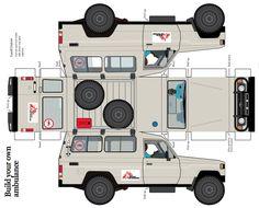 A ambulance papercraft.