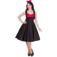 Grace Vintage Style Jive Dress in Black/Red