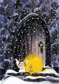 Tiny angel in the snow - illustration by Virpi Pekkala, Finland