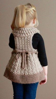 Crochet Tunic Pattern, Crochet Baby Poncho, Baby Girl Crochet, Crochet Baby Clothes, Baby Knitting Patterns, Crochet For Kids, Crochet Patterns, Sweater Patterns, Crochet Baby Dresses