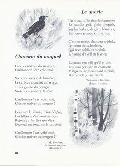 Chanson du muguet (Maurice Carême) et Le merle (Théophile Gautier) : poèmes sur le printemps. Texte extrait de Millot, L'enfant et la lecture CE2 (1965).