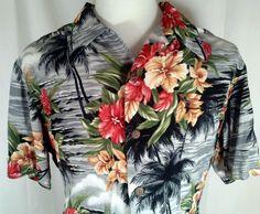 Kamehameha Mens Hawaiian Aloha Shirt Vintage Made in Hawaii 100% Rayon Large #Kamehameha #Hawaiian