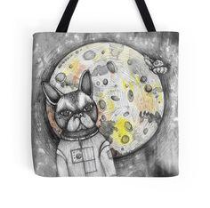Boston Moon cute puppy dog boston terrier space man gift bag beach bag art by melanie dann