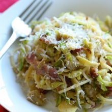 Spaghetti with Bacon, Brussels Sprouts and Artichokes {oh yeah!} at laurenslatest.com