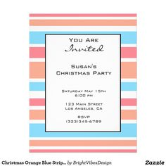 "Christmas Orange Blue Stripes 8.5"" X 11"" Flyer"