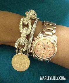 Monogrammed Glitter Chain Length Enamel Bracelet   Marley Lilly....I WANT THIS