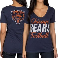 Chicago Bears Women's Front and Back V-Neck T-Shirt – Navy Blue