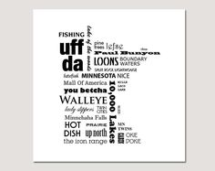Minnesota Typography Poster 12 x 12 inches. $18.50, via Etsy.